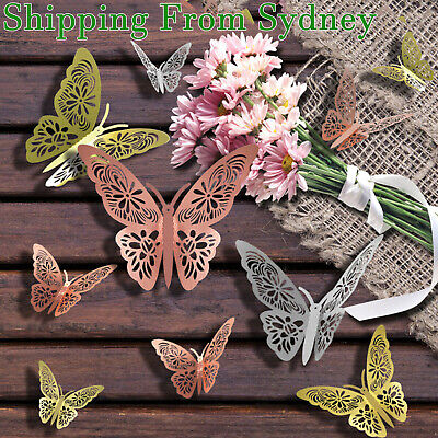 AU4.99 • Buy 12/24x 3D Butterfly Wall Stickers Room DIY Decal Removable Art Home Decorations