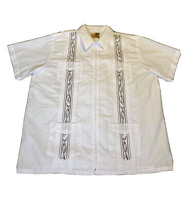 £21.01 • Buy Haband Guayabera Embroidered White & Brown Zip Up Shirt Men's Size Large
