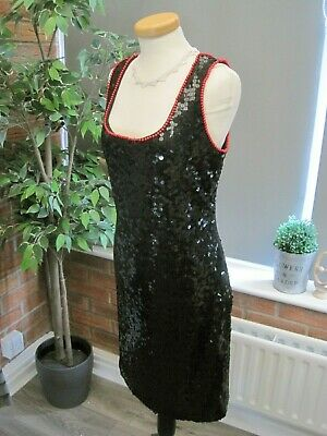 £4.99 • Buy Vintage AFTER SIX By RONALD JOYCE Black Sequinned Party Cocktail Dress UK 12 VGC
