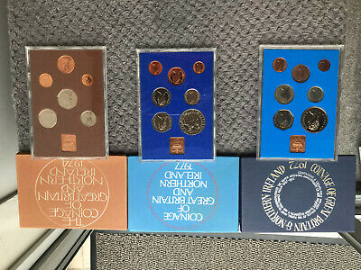 £20 • Buy Great Britain, 1977 1974 And 1972 Proof Coin Year Set In Royal Mint Case,
