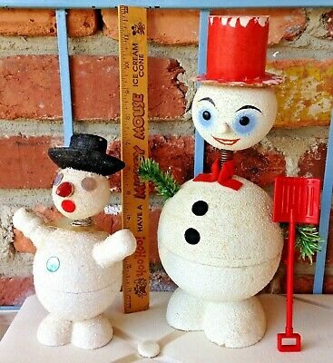 £54.45 • Buy 2 Vintage Germany Christmas Snowman Spring Loaded Bobblehead Candy Containers!