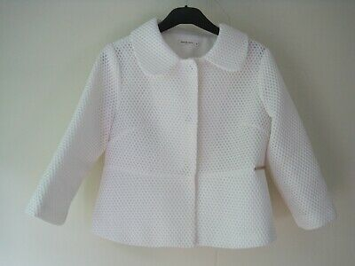 £10 • Buy Drole De Copine Short White Fitted Jacket Three Quarter Sleeves Size M