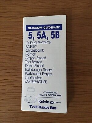 £1.99 • Buy Kelvin Scottish, Timetable Conductor Operated Services 5/5A/5B, October 1988.
