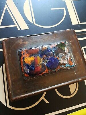 £165 • Buy VINTAGE Antique ARTS AND CRAFTS Copper Enamel Wooden Lined Box