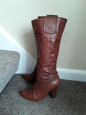 £10 • Buy Ladies Tan Leather Boots Sz 5 Made In Spain