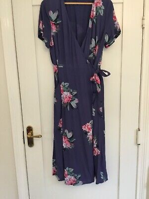 £20 • Buy Joules Chloe Dress Blue  Floral Wrap With Pockets Midi Length Size 16