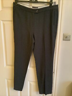 £7 • Buy M&S Collection Charcoal Grey Mix Straight Leg Trousers 18 R BNWT