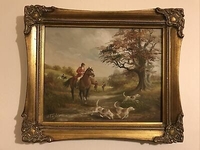 £75 • Buy Horse And Hounds Hunting Oil Painting Signed H Taylor In Lovely Frame