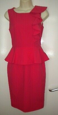 £2.99 • Buy Dorothy Perkins Pink Quality Peplum Frill Detail Lined Dress Size 6 Nwot