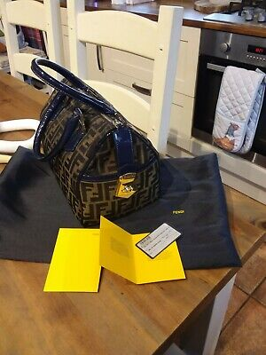 £320 • Buy Fendi Zucca Monogram Bowling Bag With Navy Patent Handles & Tims With Dust Bag