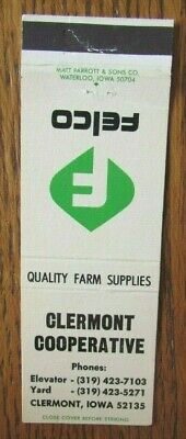 £3.04 • Buy FARM RELATED: FELCO CLERMONT CO-OP (CLEREMONT, IOWA) 1960s MATCHBOOK COVER -F8