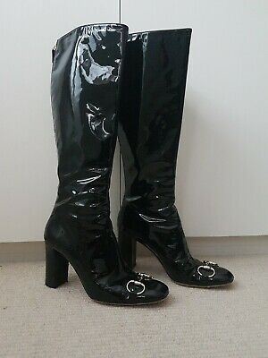 £250 • Buy Authentic TOM FORD X GUCCI Knee High Boots Black Patent Leather UK 6 EU 39 VGC