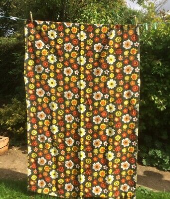 £12 • Buy PAIR Of FLOWER POWER 60s 70s Funky Groovy Curtains Vintage Fabric