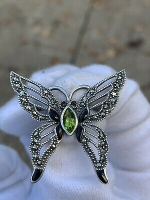 £2.20 • Buy 925 Silver Marcasite And Multi Gemstone Butterfly Brooch