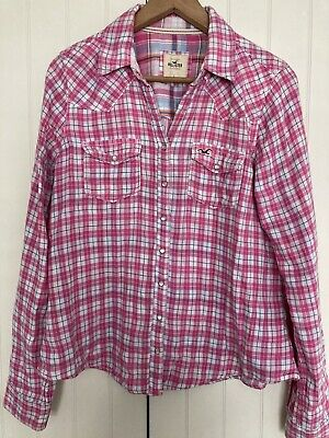 £1.60 • Buy Womens Hollister Check Shirt Pink Large Excellent Condition
