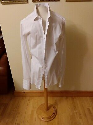 £4.99 • Buy TM Lewin Shirt 16 White Super Fitted Double Cuff - Very Slim Fit