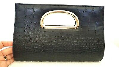 AU20 • Buy FOREVER NEW Women's Designer Small Black Faux Leather Crossbody Clutch Bag GRT