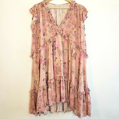 AU177.55 • Buy Spell And The Gypsy Wild Bloom Mini Dress XLarge Pink Floral V Neck Ruffles