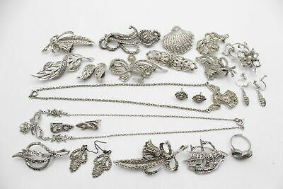 £0.99 • Buy 20 X Vintage Marcasite JEWELLERY Inc. Silver Tone, Clam Shell, Brooch, Clip Ons