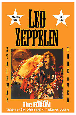 $12 • Buy Heavy Metal:  Led Zeppelin At The Forum Los Angeles Concert  Poster 1975   12x18