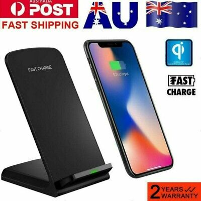 AU12.68 • Buy 10W Qi Wireless Fast Charger 2-Coils Charging Stand Dock For IPhone X 8 Samsung