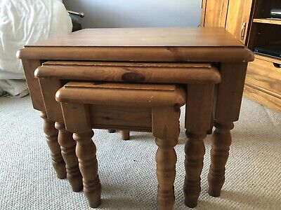 £35 • Buy Solid Pine Nest Of 3 Tables