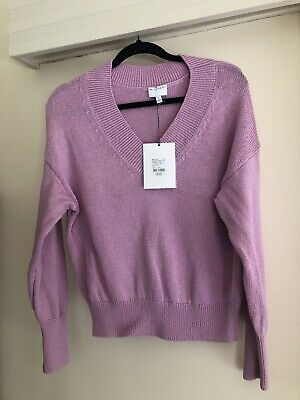 AU20 • Buy Witchery V Neck Slouch Cotton Knit Top Size Small In Peony Pink