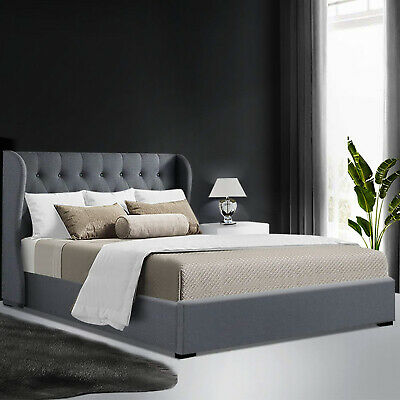 AU310.90 • Buy Artiss Bed Frame Double Size Gas Lift Mattress Base With Storage Fabric Grey