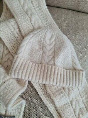 £39.99 • Buy N. Peal 100% Cashmere Pure Cashmere Beanie And Scarf Set, Cream Ivory Cable Hat