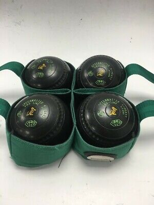 £9.99 • Buy 4 Greenmaster Pro-line Lawn Bowls 4 - Heavy With Carry Case #291