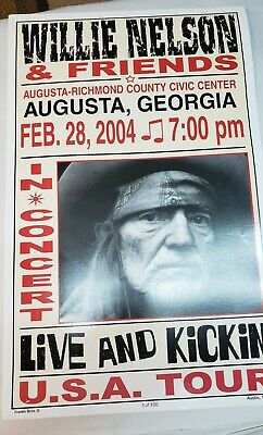 $125 • Buy WILLIE NELSON & Friend's Concert Poster 2004  1 Of 100 Augusta Georgia