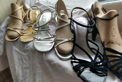 £6 • Buy 3 Pair Of Strappy Sandals Gold Silver Black Ideal For Cruise Party Wedding