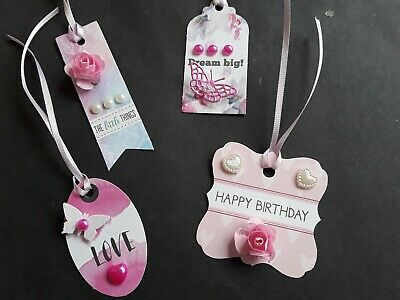 £2.49 • Buy A Set Of Handmade Tag Card Toppers, Flowers, Butterflies, Sentiments, Gems.