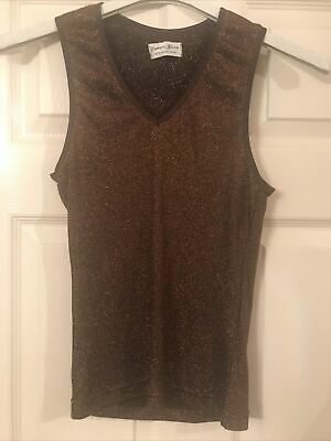 £5 • Buy Lovely Ladies Brown Sparkly Vest Top Size M