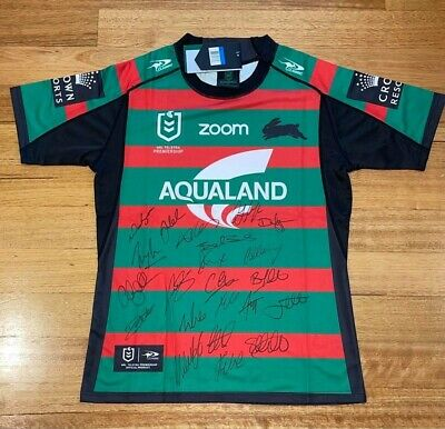 AU590 • Buy South Sydney Rabbitohs 2021 Rugby League Team Signed (by 22) Jersey - *W/COA*