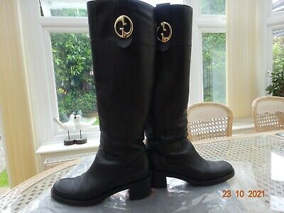 £69 • Buy Gucci Black Leather Gg Boots