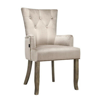 AU161.97 • Buy Artiss Dining Chairs French Provincial Chair Velvet Fabric Timber Retro Camel