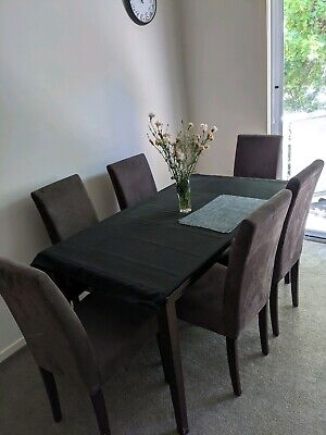 AU150 • Buy Dark Wooden Dining Table With 6 Chairs Included