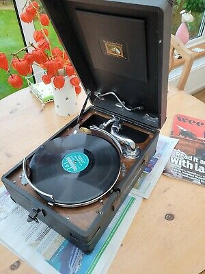£100 • Buy Antique His Master's Voice HMV 102 Portable Gramophone With Rare Record Holder