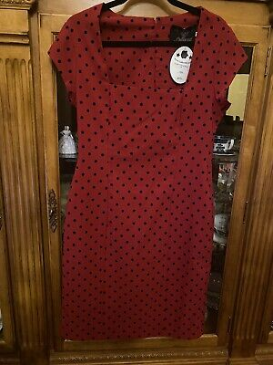 £20 • Buy Bnwt Sz14 Collectif Red Polka Dot 50s Vintage Style Pencil Dress