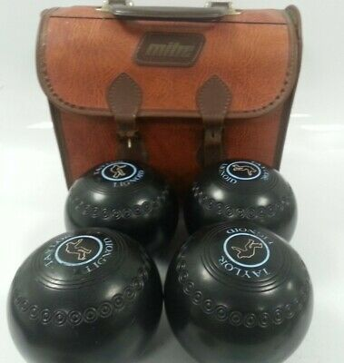 £6.99 • Buy 4x Thomas Taylor Lignoid Lawn/Indoor Bowls Black & Blue Size 5 With Bag