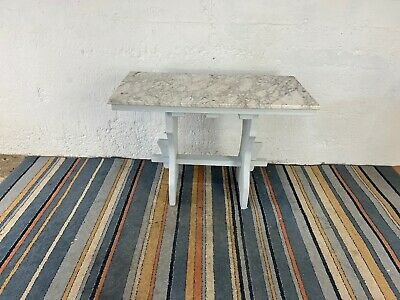£99.99 • Buy Vintage Grey Marble Top Table With Wooden Legs