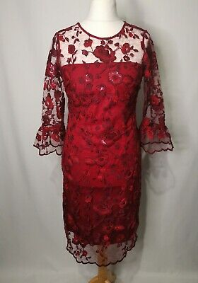 £19.99 • Buy Laura Ashley Red Dress Floral Lace Sparkly Size 12 Eveningwear