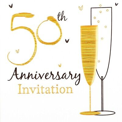 £2.99 • Buy Pack Of 6 Golden 50th Wedding Anniversary Party Card Invitations & Envelopes