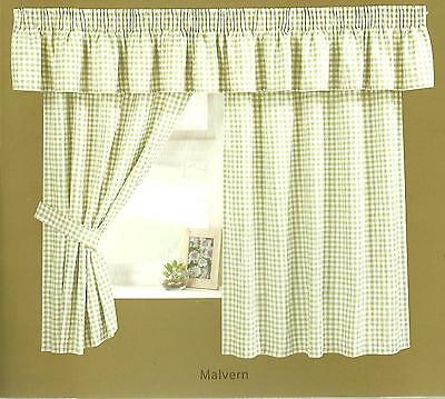 £24.99 • Buy Gingham Check Curtain Inclucing Pelmet And Tie Backs, 3 Colours