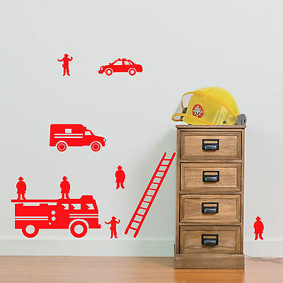£6.71 • Buy Fire Engine Team Wall Stickers Children's Room Diy B Removable Vinyl Decals A16