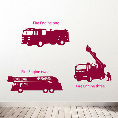 £12.47 • Buy Fire Engine Team Wall Stickers Children's Room Diy New Removable Vinyl Decals B3