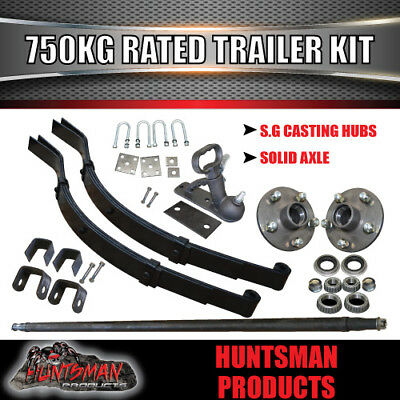 AU184 • Buy 750Kg DIY Trailer Kit, Solid Axle, S.G Cast Hubs, Heavy Duty Springs & U Bolts