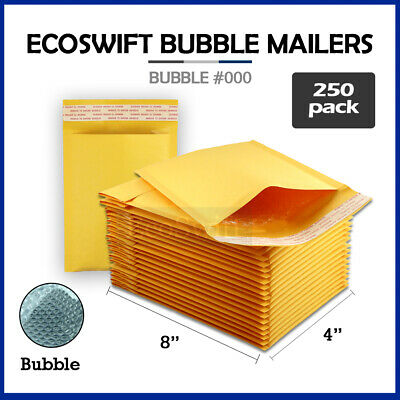 $25.99 • Buy 250 #000 4x8 KRAFT BUBBLE MAILERS PADDED ENVELOPES 4x8