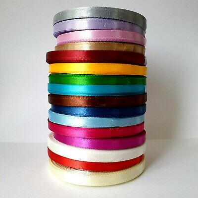 BUY 3 GET 3 FREE 22 Mtrs 6 Mm Satin Ribbon By Roll  Various Colour UK SELLER • 1.99£